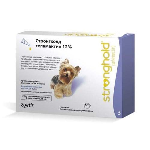 Противопаразитарные капли на холку для собак и кошек Стронгхолд (Stronghold), от 2,5 до 5 кг