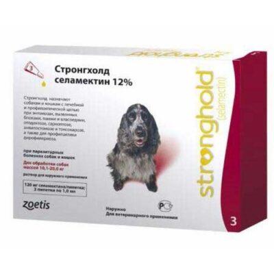 Противопаразитарные капли на холку для собак и кошек Стронгхолд (Stronghold), от 10 до 20 кг