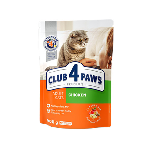 Сухой корм для взрослых кошек Клуб 4 четыре лапы (CLUB 4 PAWS PREMIUM) курица