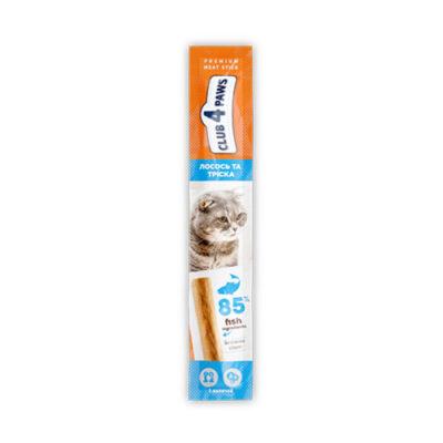 Мясная палочка-лакомство для взрослых кошек Клуб 4 четыре лапы (CLUB 4 PAWS PREMIUM) лосось и треска, 5 г