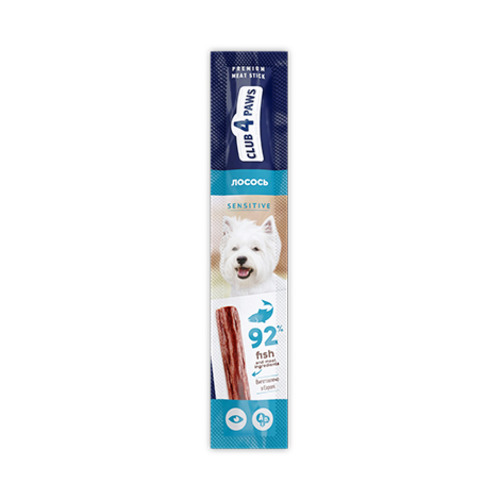 Мясная палочка-лакомство для собак с чувствительным пищеварением Клуб 4 четыре лапы (CLUB 4 PAWS PREMIUM) лосось, 12 г