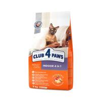 Сухой корм для взрослых кошек, живущих в помещении, 4 в 1 Клуб 4 четыре лапы (CLUB 4 PAWS PREMIUM)