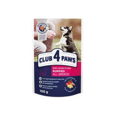 Консервированный корм, пауч для щенков Клуб 4 четыре лапы (CLUB 4 PAWS PREMIUM) с курицей в желе