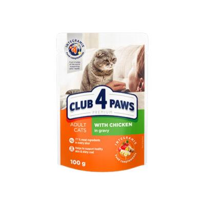 Консервированный корм, пауч для взрослых котов Клуб 4 четыре лапы (CLUB 4 PAWS PREMIUM) с курицей в соусе