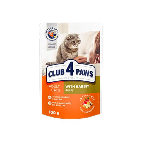 Консервированный корм, пауч для взрослых кошек Клуб 4 четыре лапы (CLUB 4 PAWS PREMIUM) с кроликом в желе
