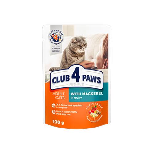 Консервированный корм, пауч для взрослых кошек Клуб 4 четыре лапы (CLUB 4 PAWS PREMIUM) с макрелью в соусе