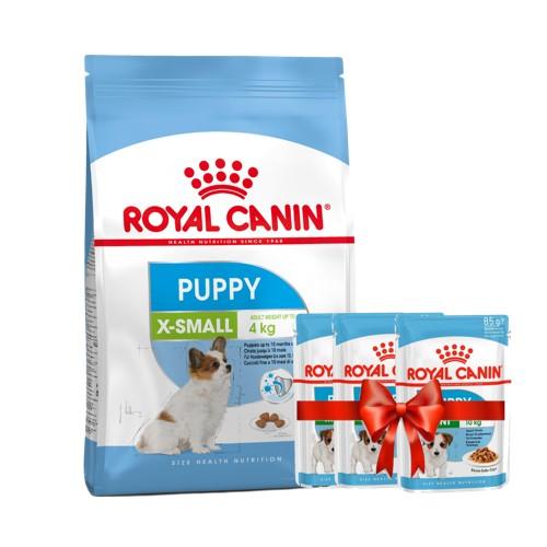 Набор сухой корм для щенков 1,5 кг и 3 пауча в подарок миниатюрных пород Роял Канин Смол (Royal Canin Royal Canin X-Small)