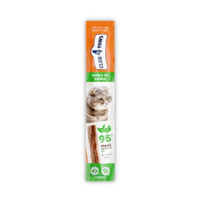 Мясная палочка-лакомство для взрослых кошек Клуб 4 четыре лапы (CLUB 4 PAWS PREMIUM) курица и утка, 5 г