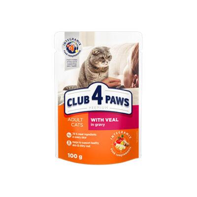 Консервированный корм, пауч для взрослых кошек Клуб 4 четыре лапы (CLUB 4 PAWS PREMIUM) с телятиной в соусе