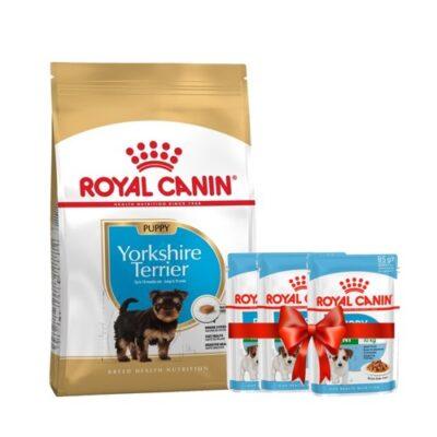 Набор сухой корм 1,5 кг и 3 пауча в подарок Роял Канин Йоркшир Терьер Паппи (Royal Canin Yorkshire Terrier Puppy)