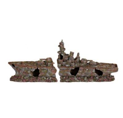 Грот для аквариума, разбитый военный корабль (затонувший крейсер линкор) Трикси TX-8886 (Trixie), 70 см