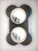 Набор из двух керамических мисок с деревянной подставкой My friend в виде косточки 85412