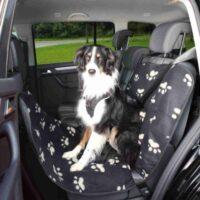 Подстилка в автомобиль для собаки, покрывало флис для задних сидений Трикси ТХ-13234 (Trixie) 1,40х1,45 см черн/беж
